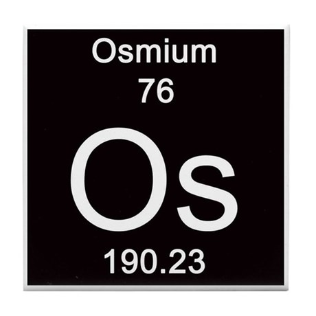 Periodic Table Osmium Tile Coaster By ScienceLady