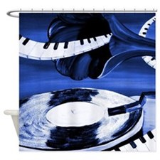Blue Musical Shower Curtain