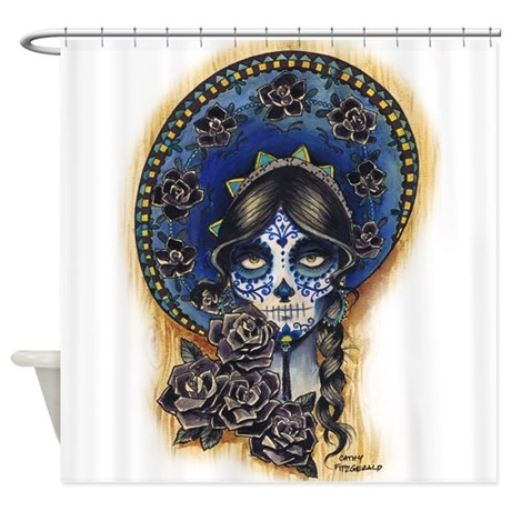 Sombrero Skull Shower Curtain