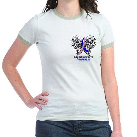 Butterfly Male Breast Cancer Jr. Ringer T-Shirt