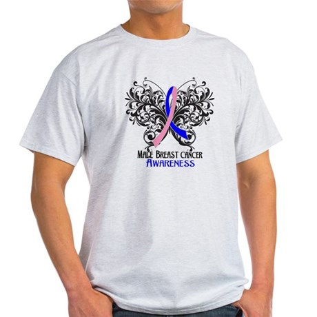Butterfly Male Breast Cancer Light T-Shirt
