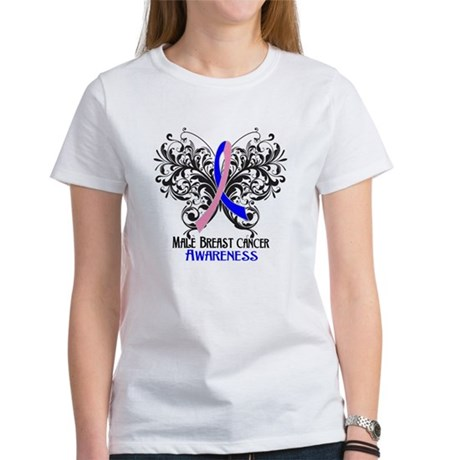 Butterfly Male Breast Cancer Women's T-Shirt