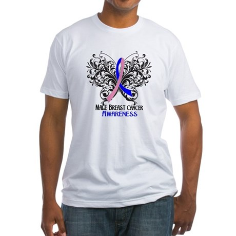 Butterfly Male Breast Cancer Fitted T-Shirt