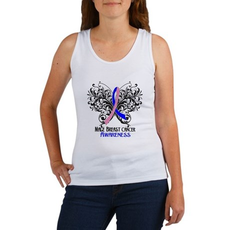 Butterfly Male Breast Cancer Women's Tank Top