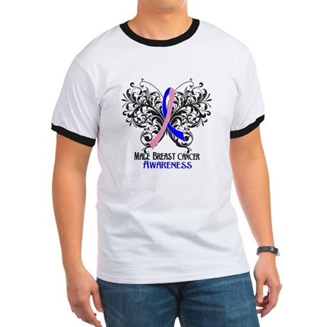 Butterfly Male Breast Cancer Ringer T