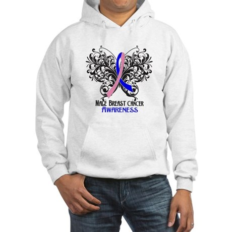 Butterfly Male Breast Cancer Hooded Sweatshirt