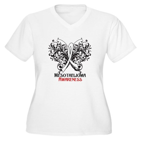 Butterfly Mesothelioma Women's Plus Size V-Neck T-
