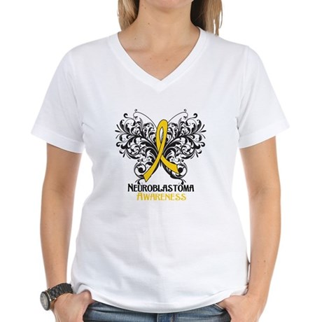 Butterfly Neuroblastoma Women's V-Neck T-Shirt