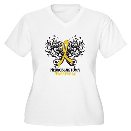 Butterfly Neuroblastoma Women's Plus Size V-Neck T