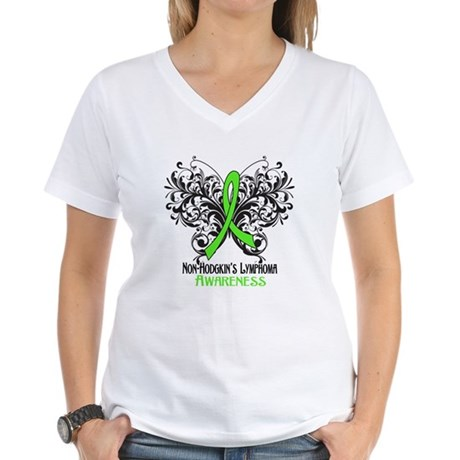 Butterfly Non-Hodgkins Women's V-Neck T-Shirt