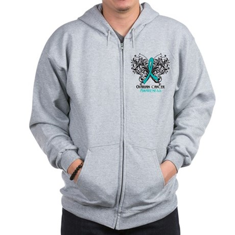 Butterfly Ovarian Cancer Zip Hoodie