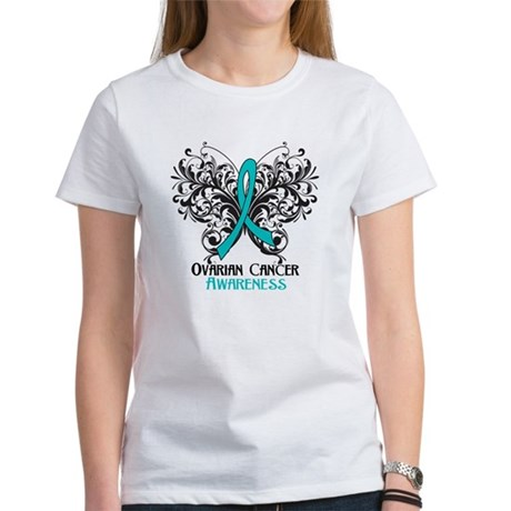 Butterfly Ovarian Cancer Women's T-Shirt