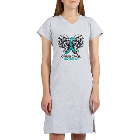 Butterfly Ovarian Cancer Women's Nightshirt