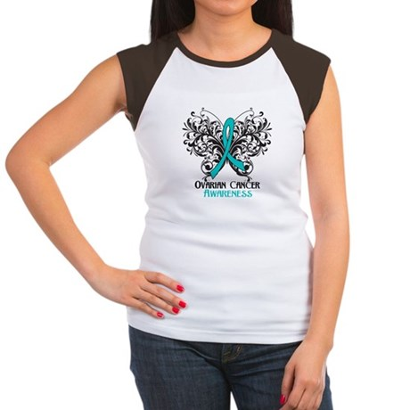 Butterfly Ovarian Cancer Women's Cap Sleeve T-Shir
