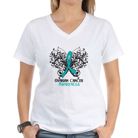 Butterfly Ovarian Cancer Women's V-Neck T-Shirt
