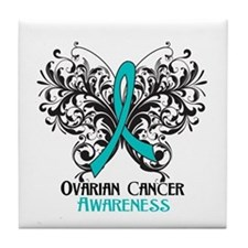 Butterfly Ovarian Cancer Tile Coaster