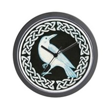 White Crow Celtic design Wall Clock