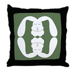 Bunny Now and Zen Throw Pillow