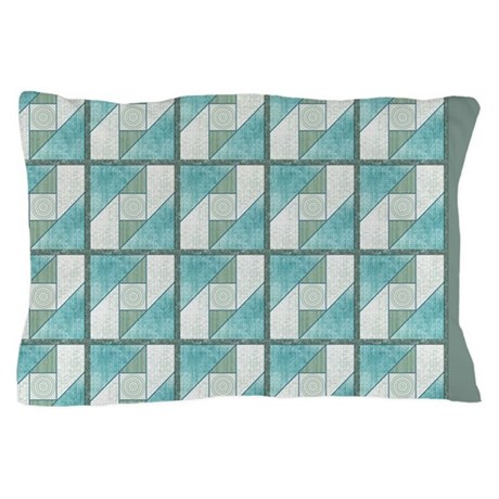 Attic Window Mint Green Blue Quilt Blocks Pillow P by