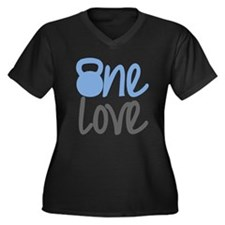 Blue One Love Kettlebell Women's Plus Size V-Neck