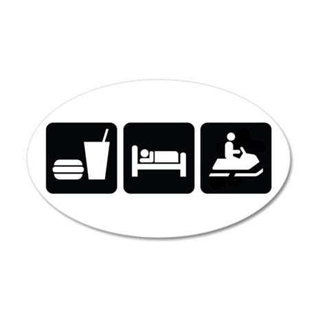 Eat Sleep Snowmobile 35x21 Oval Wall Decal
