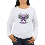 Butterfly Pancreatic Cancer Women's Long Sleeve T-