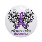 Butterfly Pancreatic Cancer Ornament (Round)