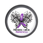 Butterfly Pancreatic Cancer Wall Clock