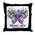 Butterfly Pancreatic Cancer Throw Pillow