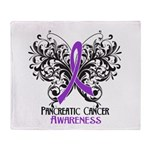 Butterfly Pancreatic Cancer Throw Blanket