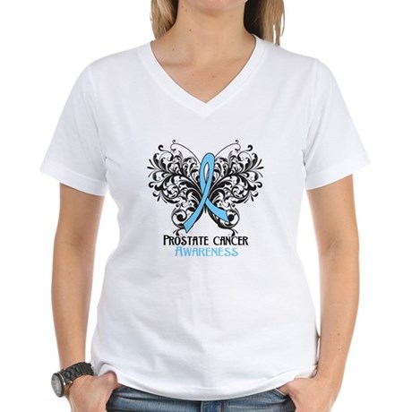 Butterfly Prostate Cancer Women's V-Neck T-Shirt