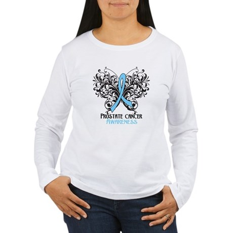Butterfly Prostate Cancer Women's Long Sleeve T-Sh