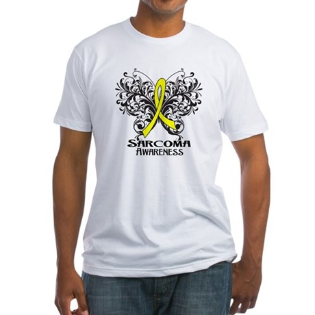 Butterfly Sarcoma Cancer Fitted T-Shirt