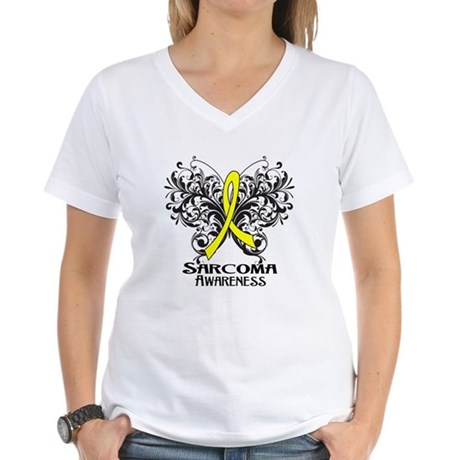 Butterfly Sarcoma Cancer Women's V-Neck T-Shirt