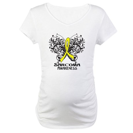 Butterfly Sarcoma Cancer Maternity T-Shirt