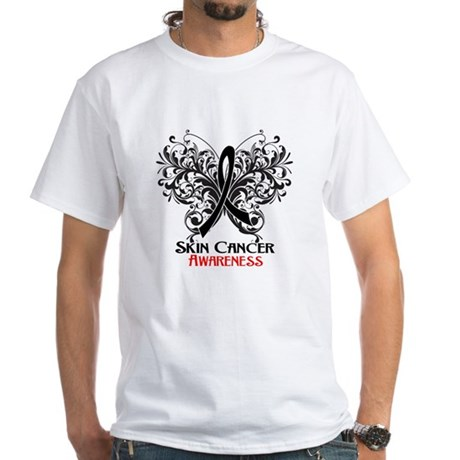 Butterfly Skin Cancer White T-Shirt