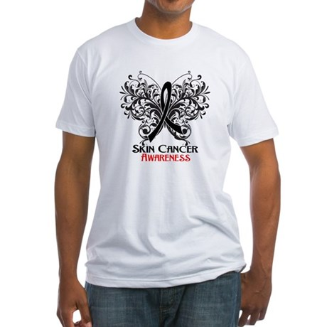 Butterfly Skin Cancer Fitted T-Shirt
