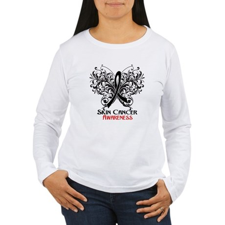 Butterfly Skin Cancer Women's Long Sleeve T-Shirt