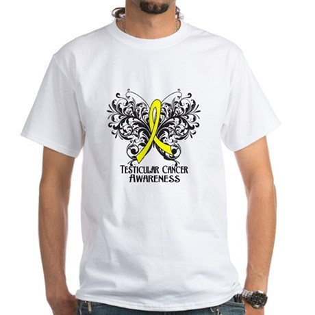 Butterfly Testicular Cancer White T-Shirt