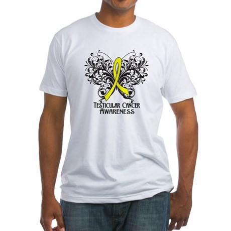 Butterfly Testicular Cancer Fitted T-Shirt