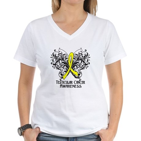 Butterfly Testicular Cancer Women's V-Neck T-Shirt