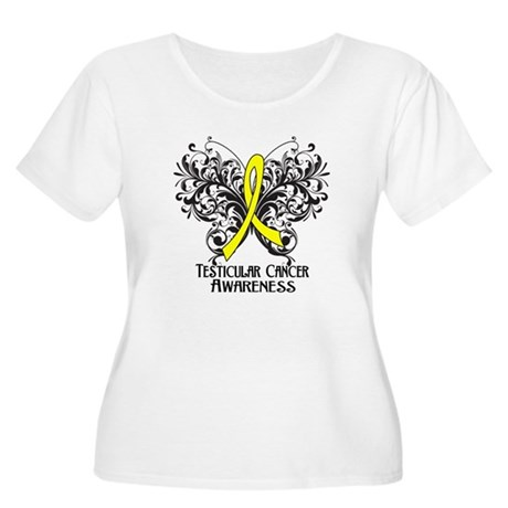 Butterfly Testicular Cancer Women's Plus Size Scoo