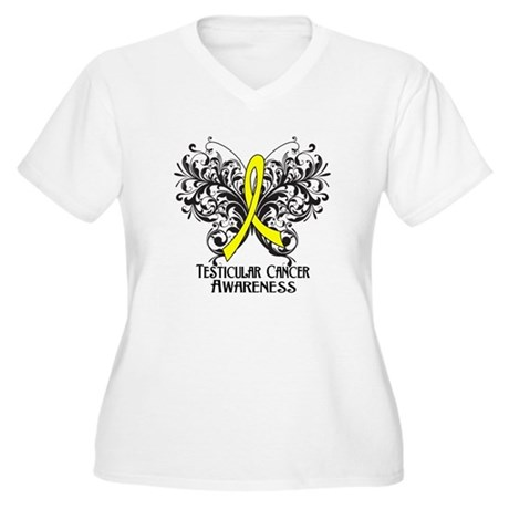 Butterfly Testicular Cancer Women's Plus Size V-Ne
