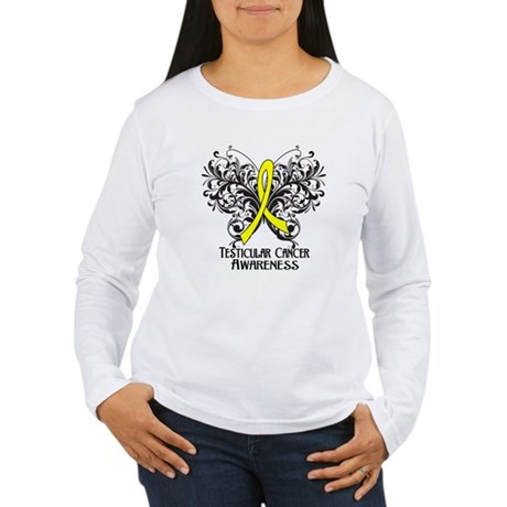 Butterfly Testicular Cancer Women's Long Sleeve T-