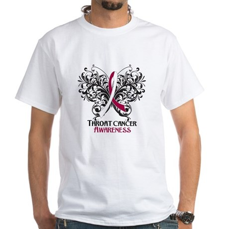 Butterfly Throat Cancer White T-Shirt