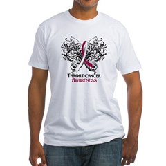 Butterfly Throat Cancer Fitted T-Shirt