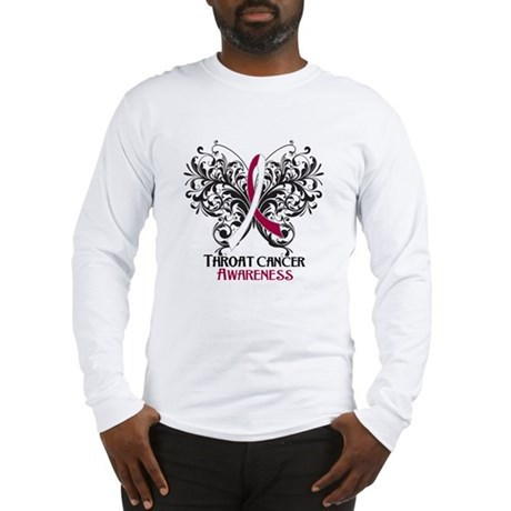 Butterfly Throat Cancer Long Sleeve T-Shirt