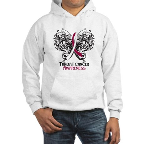 Butterfly Throat Cancer Hooded Sweatshirt