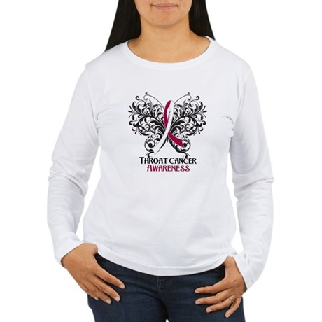 Butterfly Throat Cancer Women's Long Sleeve T-Shir