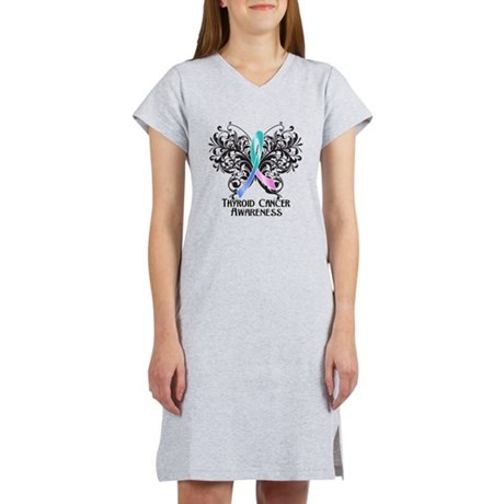 Butterfly Thyroid Cancer Women's Nightshirt